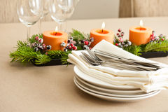 Christmas Dinner table setting Royalty Free Stock Image