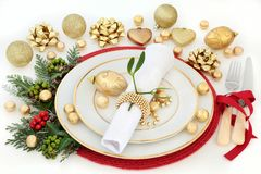 Christmas Dinner Table Setting Royalty Free Stock Photo
