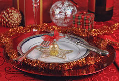 Christmas Dinner Table Setting Stock Photo
