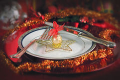 Christmas Dinner Table Setting Royalty Free Stock Images