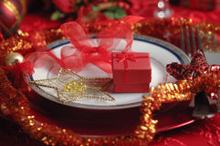 Christmas Dinner Table Setting Stock Images