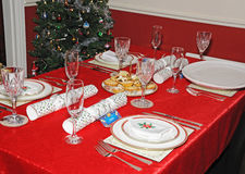 Christmas dinner table setting. Royalty Free Stock Photography
