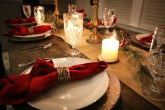 Christmas Dinner Table Setting | Holiday Dinner Table royalty free stock images