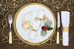 Christmas Dinner Table Setting Stock Photography