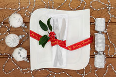 Christmas Dinner Table Setting Royalty Free Stock Photos
