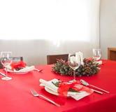 Christmas dinner table setup Royalty Free Stock Images
