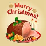 Christmas dinner, traditional christmas food-Christmas ham Stock Image