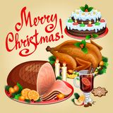 Christmas dinner, traditional christmas food and desserts. Roast Turkey, ham, Christmas pie, mulled wine. Vector illustration vector illustration