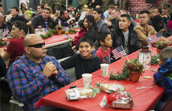 Christmas dinner for US Soldiers at Wounded Warrior Center, Camp Pendleton, North of San Diego, California, USA Stock Photo