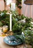 Beautiful table for Christmas party or New Year celebration Royalty Free Stock Image