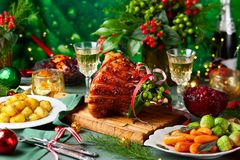 Free Christmas Dinner With Side Dishes Royalty Free Stock Images - 128422379