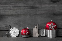 Christmas dinner. Wooden grey background with decoration of old Stock Photo