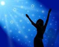 Christmas discotheque. Dancing girl and snowflakes Stock Photo