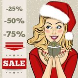 Christmas discount banner with sexy  blonde  Santa Royalty Free Stock Image