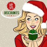 Christmas discount banner with sexy  blonde  Santa Royalty Free Stock Photo