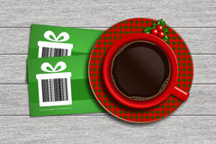 Christmas discount coupons with barcode and coffee on wooden desk. Christmas discount coupons with barcode and cup of coffee lying on wooden desk. barcode is stock illustration