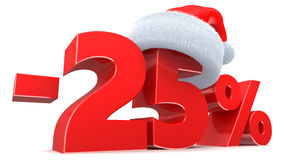 Christmas discount. 3d illustration of Christmas 25 percent discount sign Stock Images