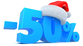 Christmas discount. 3d illustration of Christmas sale 50 percent discount symbol Royalty Free Stock Photo