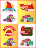 Christmas Discount Festive Posters with Presents. Decorated with ribbons and bows in big heap and red Santas hat cartoon flat vector illustrations set Royalty Free Stock Images