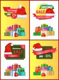 Christmas Discount Festive Posters with Presents. Decorated with ribbons and bows in big heap and red Santas hat cartoon flat vector illustrations set Royalty Free Stock Image