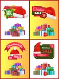 Christmas Discount Festive Posters with Presents. Decorated with ribbons and bows in big heap and red Santas hat cartoon flat vector illustrations set Royalty Free Stock Photos