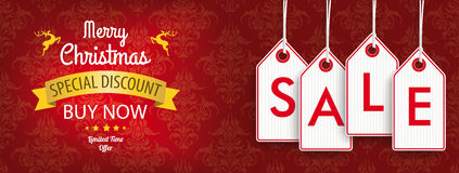 Christmas Discount Header Ornaments Price Stickers Sale Royalty Free Stock Photo