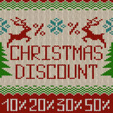 Christmas discount knitted seamless pattern or background Royalty Free Stock Photos