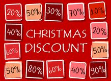 Christmas discount and percentages in squares - retro red label Royalty Free Stock Photo