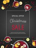 Christmas discount Sale flyer with Winter traditional drink punch in a bowl and cups, oranges, apples, spices, cardamom, cinnamon. Anise. Big seasonal sale Royalty Free Stock Photo