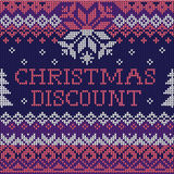 Christmas discount: Scandinavian style seamless knitted pattern Stock Photos