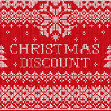 Christmas discount: Scandinavian style seamless knitted pattern Royalty Free Stock Photos