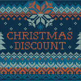 Christmas discount: Scandinavian style seamless knitted pattern Stock Photography