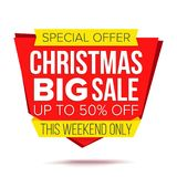 Christmas Discount Special Offer Sale Banner Vector. Isolated Illustration Stock Image