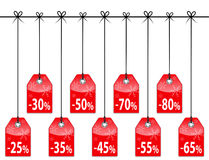 Christmas discount tags. Red glossy holiday labels. Vector illustration stock illustration