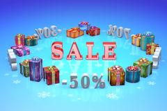 Christmas discounts (dumping,%, percentages, purchase, sale) Royalty Free Stock Photos