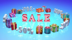 Christmas discounts (dumping,%, percentages, purchase, sale) stock video footage