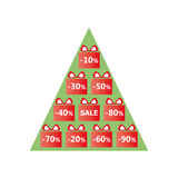 Christmas discounts with gift packages and written sale on green tree Stock Photography