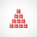 Christmas discounts with gift packages and written sale Royalty Free Stock Image
