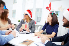 Christmas discussion Stock Photos