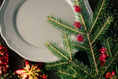 Christmas dish with red tree toy toned and bokeh added. Selective focus royalty free stock image