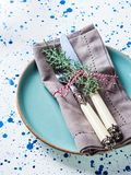 Christmas dish set with cutlery and green branch. Holiday dinner symbol stock photo