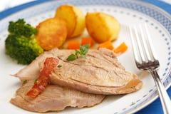 Christmas dish of sliced roasted turkey Royalty Free Stock Image