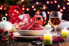 Christmas dishware on the table Stock Image
