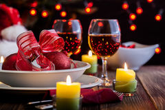 Christmas dishware on the table Royalty Free Stock Photography