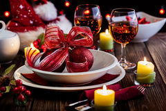 Christmas dishware on the table Stock Photo