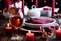 Christmas dishware on the table Royalty Free Stock Images