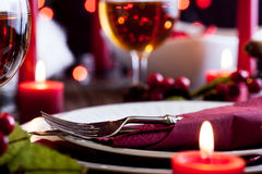 Christmas dishware on the table Stock Photos