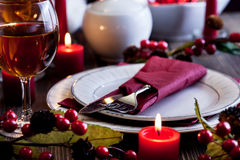 Christmas dishware on the table Stock Photography