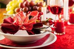 Christmas dishware on the table Stock Image