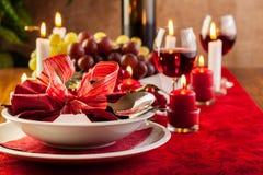 Christmas dishware on the table Stock Photo